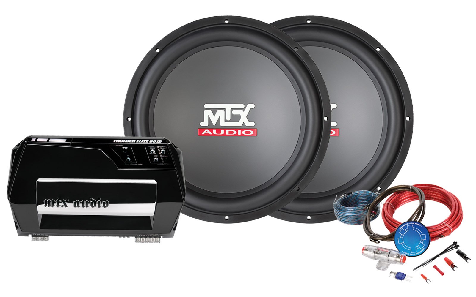 Bass Package Thunder 600w Amplifier 15 Subwoofer Mtx Audio Dual Wiring Kit