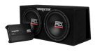"Picture of Dual 12"" 1000-Watt RMS Vented Enclosure and Mono Block Amplifier"