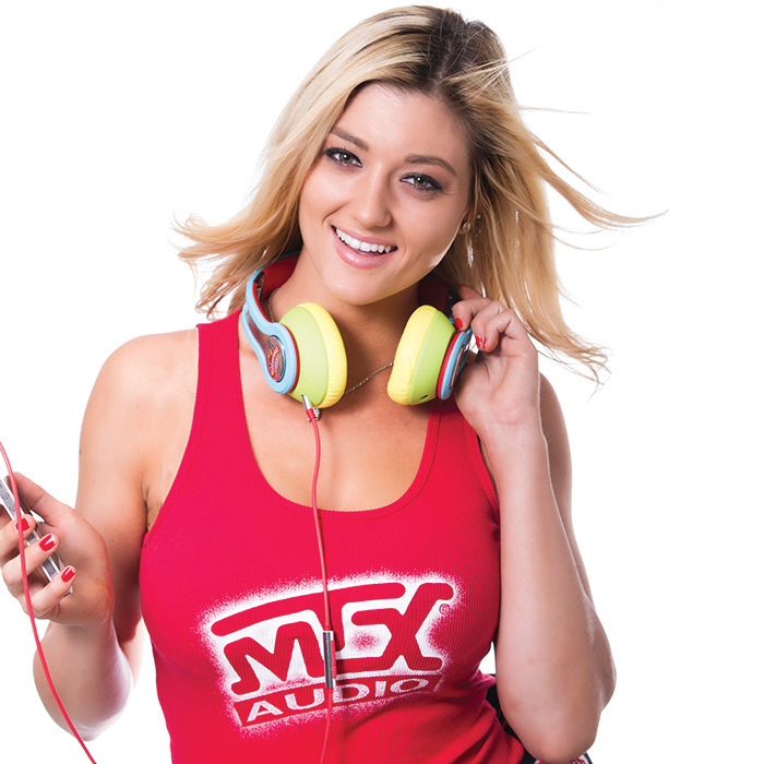 Katie Vernola with MTX Headphones
