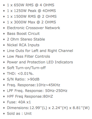 Car Audio Amplifier Specs