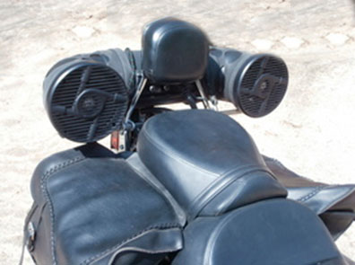 motorcycle speakers mounted in back