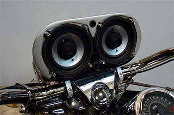 motorcycle speakers mounted on handlebar enclosure
